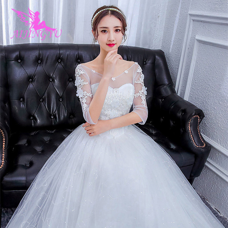 AIJINGYU 2018 Free Shipping New Hot Selling Cheap Ball Gown Lace Up Back Formal Bride Dresses Wedding Dress For Sale FU260