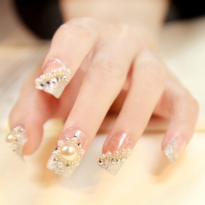 24pcs Clear Silver Glitter Dust Gems Rhinestones Pre Design Acrylic 3D Wedding Style False Nail Tips Large Pearl Z039 In Nails From Beauty Health On