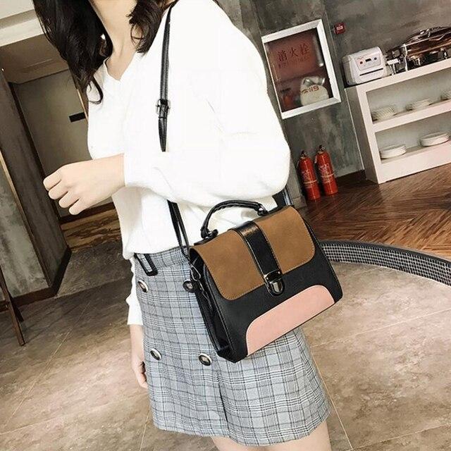 Women Casual Leather Sling Handbag Girls Crossbody Bag Patchwork Color Messenger Shoulder Bag Female Elegant Handbag 5