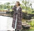 Новая осень женщины печати полосатый свободные траншеи пальто V-образным Вырезом Одной кнопки большой размер кардиган верхняя одежда старинные одежды 86338