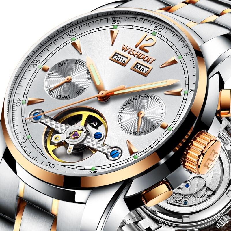 ФОТО Mens watches Automatic mechanical watch tourbillon clock leather Casual business wristwatch relojes hombre brand WISHDOIT luxury