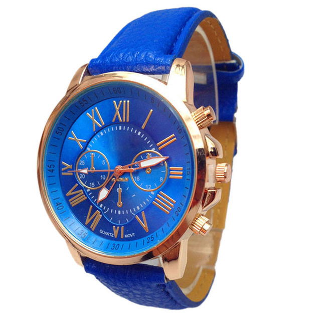 Novel design New Luxury Fashion Faux Leather Men Blue Ray Glass Quartz Analog Watches Casual Cool Watch Brand Men Watches 4