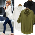 New Casual White Women Chiffon Blouse Ladies Solid Elegant  Blouses  OL Office Shirt Plus