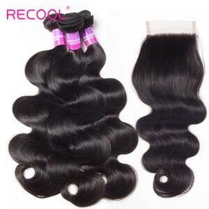 Image 4 - Recool cabelo onda do corpo pacotes com fechamento remy cabelo 6x6 e 5x5 pacotes com fechamento peruano cabelo humano 3 pacotes com fechamento