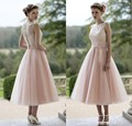 Wholesale 2015 Blush Pink Tulle Lace Bridesmaid Dresses Tea Length Elegant Women Wedding Guests Party Dresses Vestido Madrinha