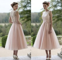 Wholesale 2015 Blush Pink Tulle Lace Bridesmaid Dresses Tea Length Elegant Women Wedding Guests Party Vestido Madrinha