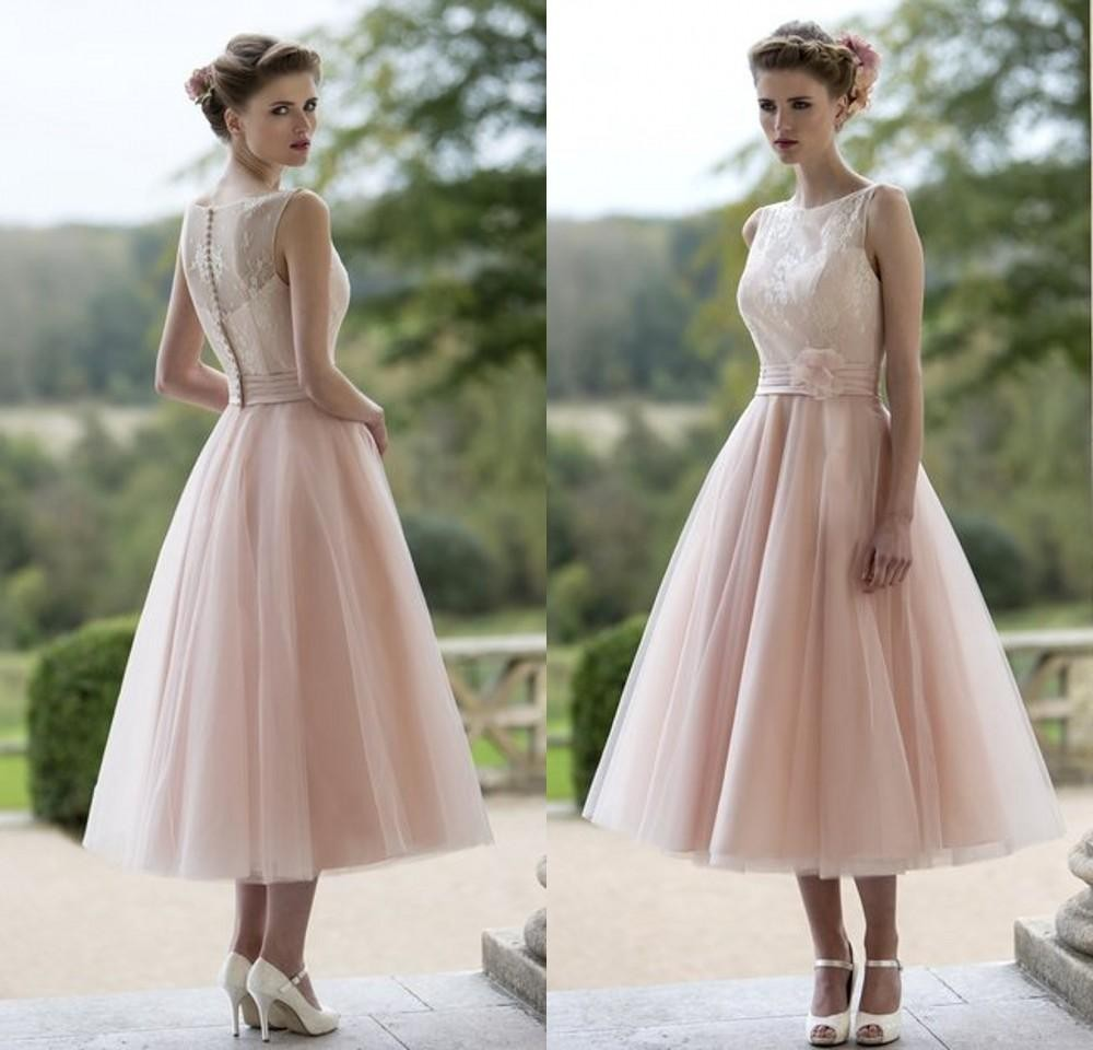 Wholesale 2015 Blush Pink Tulle Lace   Bridesmaid     Dresses   Tea Length Elegant Women Wedding Guests Party   Dresses   Vestido Madrinha