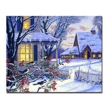 Modern On Canvas DIY Oil Painting By Numbers Kits HandPainted Winter Night Cabin Building Pictures Home Decorative Wall