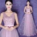 Роза розовый v-образным вырезом длинное вечернее платье платье-де-феста платье свадебное матери платье mae noiva brautmutterkleider