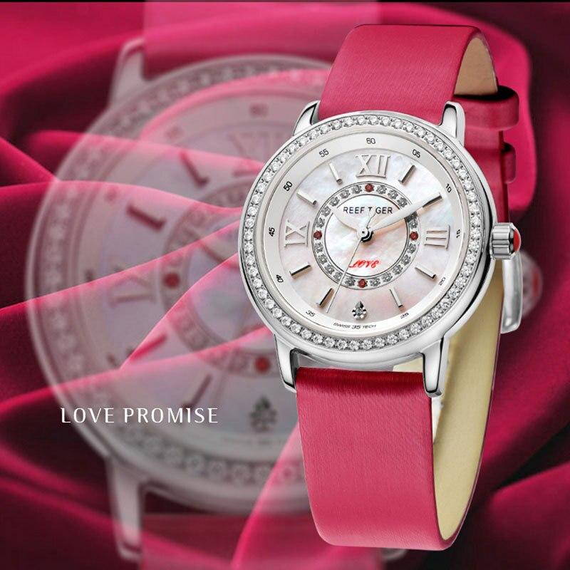 Риф Тигр/RT модные элегантные часы для Для женщин бриллиантами Безель MOP циферблат телячьей кожи Ronda 763 кварцевые часы RGA1563