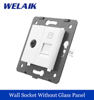 WELAIK EU Standard TV Telephone Socket DIY Parts White Wall TV Telephone Socket Parts Without Glass