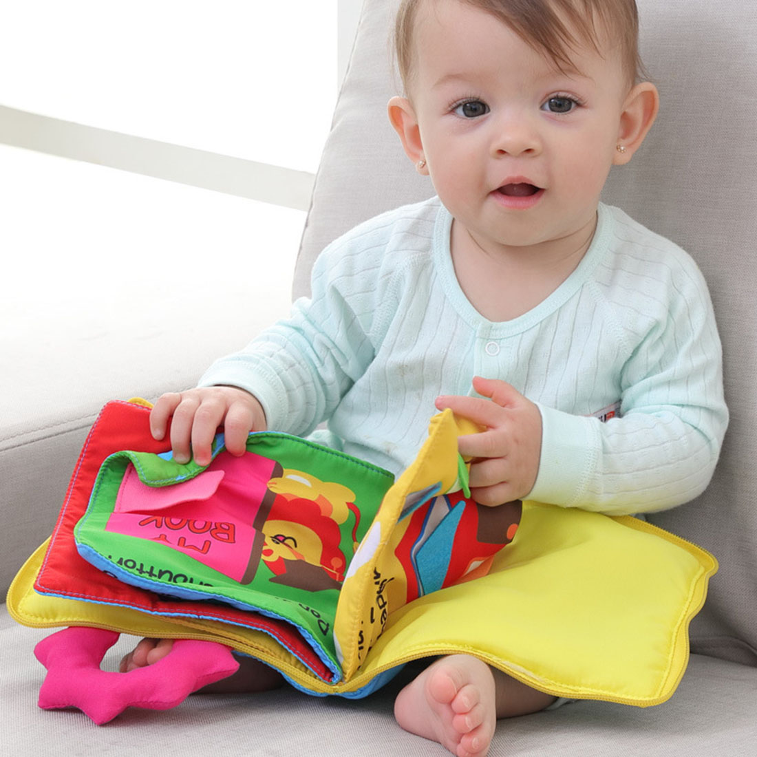 Soft Cloth Book Cartoon Baby Learning Animals Fruit Vegetable Numbers Vehicles Cognition ...