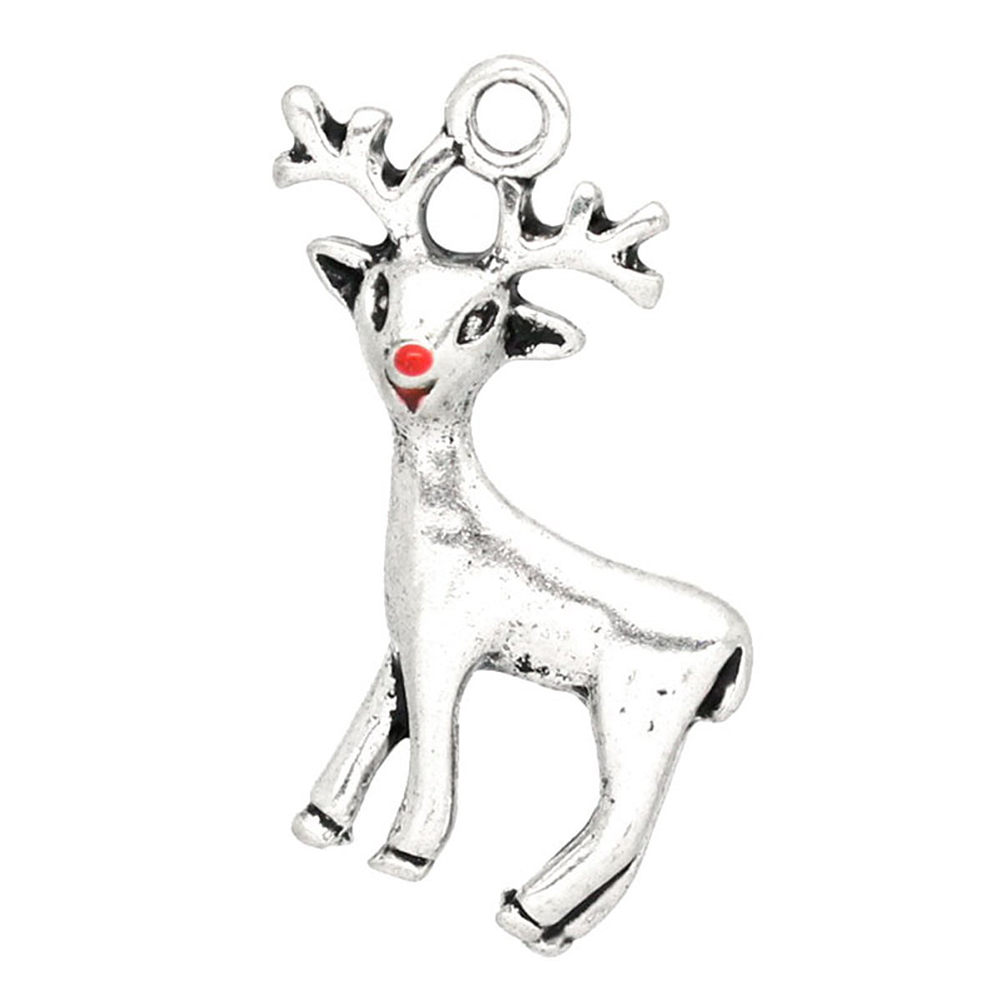 20PCs Silver Tone Christmas Reindeer Charms Pendants 24x21mm(1 inch x 7/8 inch)- Jewellery Making Findings DIY Crafts