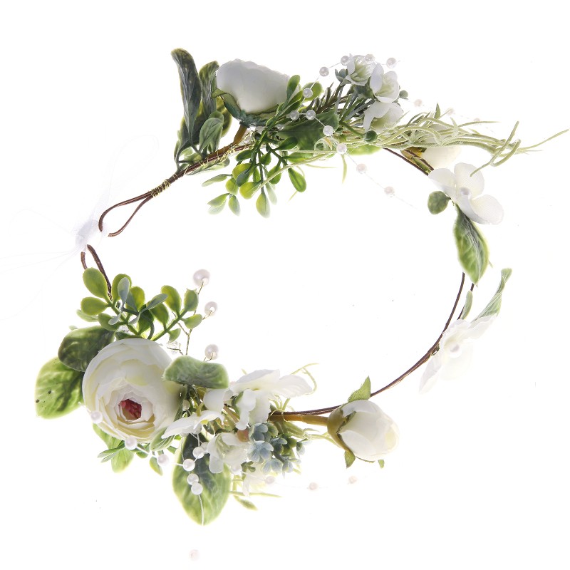 Women Wedding Party Headwear Hair Accessories Girl Flower Wreath Crown Festival Headband Headdress Adjustable Floral Garland