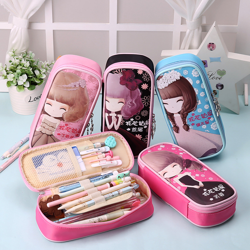 Cute Kawaii Cartoon Canvas Roll Pencil Case Lovely Fabric Roller Girl Pen Bag for Kids School Supplies cute kawaii cartoon canvas roll pencil case lovely fabric roller girl pen bag for kids school