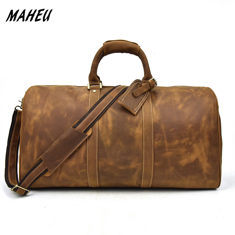 Men Vintage Crazy Horse Leather Travel Bag Big Real Leather Weekend Bag Zip Around Cow Leather Duffle Bag Hand Luggage BagMen Vintage Crazy Horse Leather Travel Bag Big Real Leather Weekend Bag Zip Around Cow Leather Duffle Bag Hand Luggage Bag