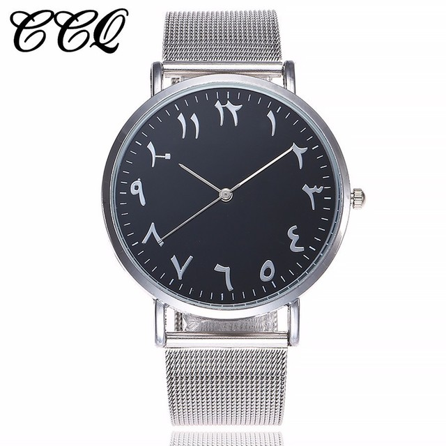 Dropshipping Silver Mesh Watch Unique Arabic Numbers Watches Women Men Stainless