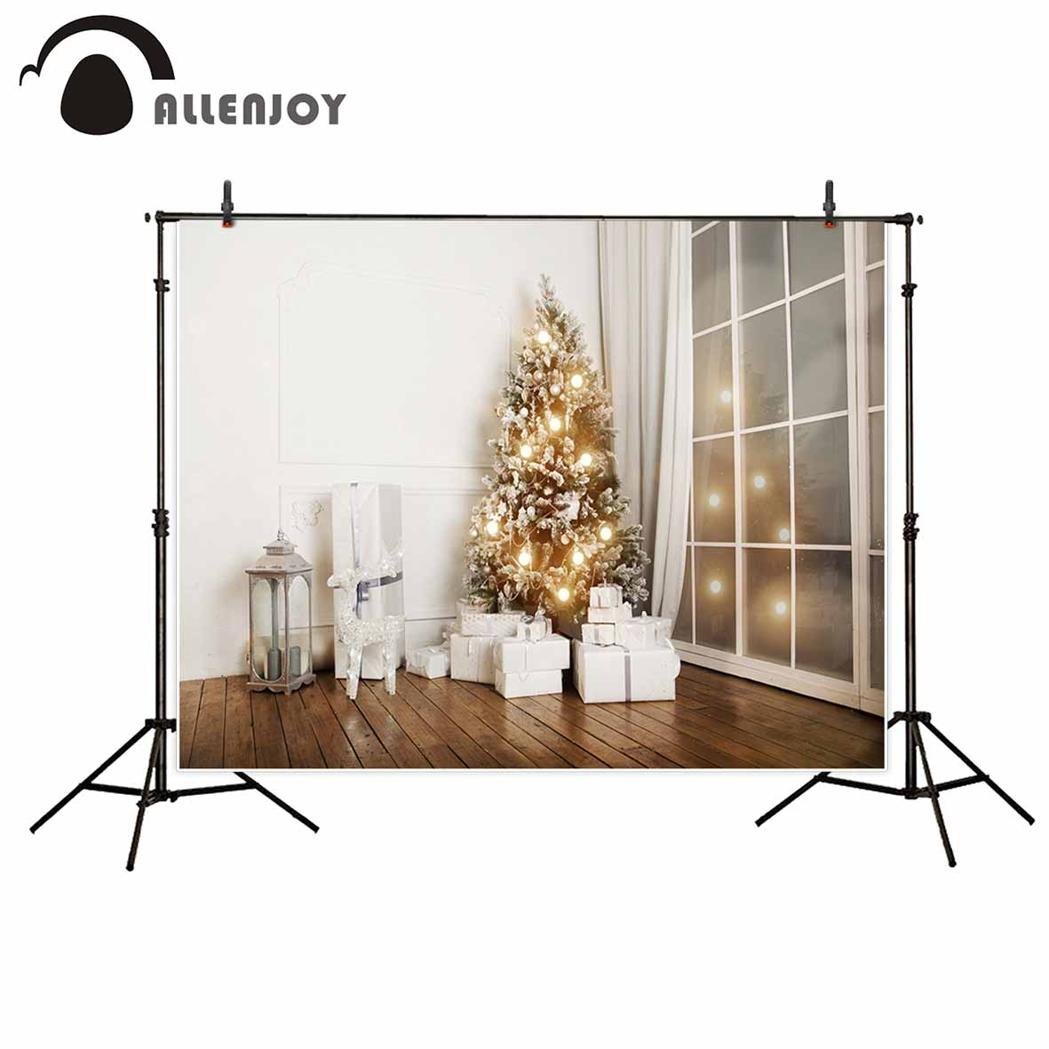Allenjoy photography Christmas background small bulbs gift wooden floor door backdrop background photography allenjoy christmas photography backdrop wooden fireplace xmas sock gift children s photocall photographic customize festive