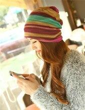 2017 New Fashion Women Knitted Hat Striped Print Outdoor Female Caps Elegant Spring Winter Warm Women Hat