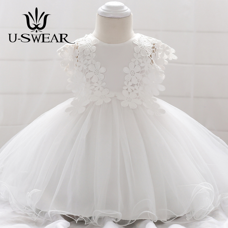 U-SWEAR 2018 Flora Appliques Chiffon Lace Baby Sweet Flower Girl Dresses Sleeveless Ankle-Length Ball Gown Dresses