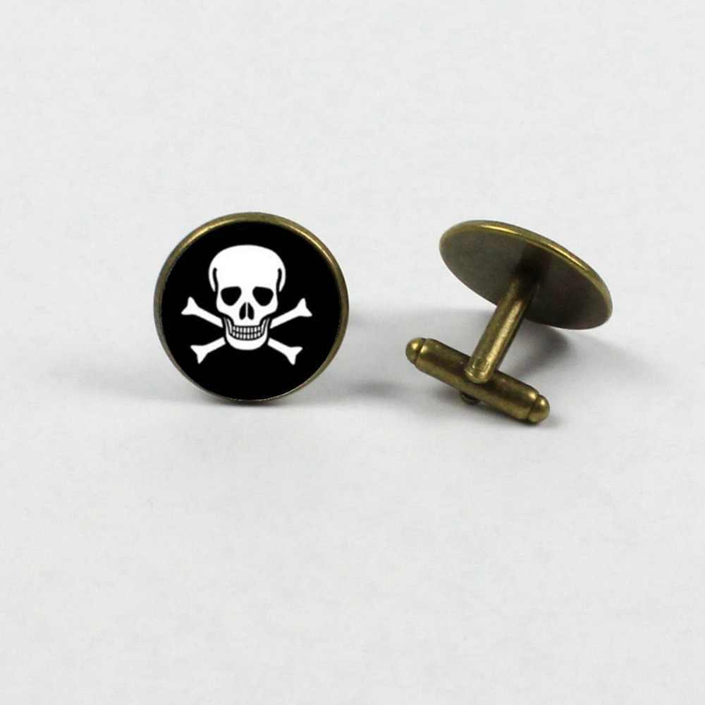 2018 new pirate twins parent-child cufflinks round photo jewelry black white cufflinks gift