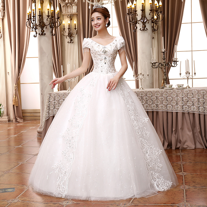 Wedding dress 2015 sweetheart sleeveless lace wedding for Wedding dress big size