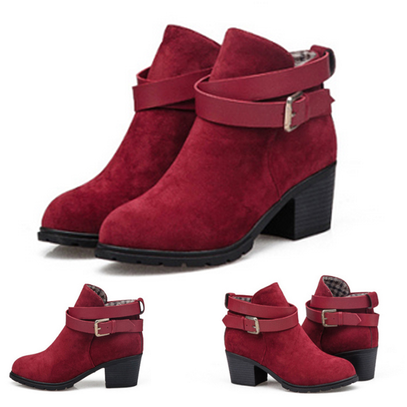 red suede ankle boots low heel | Gommap Blog