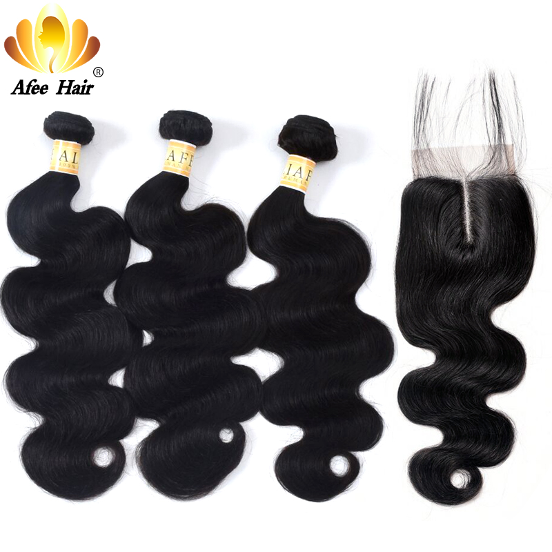 AliAfee Hair Chinese Hair Bundles With Closure Natural Color Body Wave Hair Weave Human Hair Bundles With 4*4 Closur Non Remy-in 3/4 Bundles with Closure from Hair Extensions & Wigs