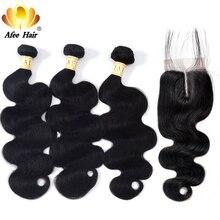 AliAfee włosów chiński wiązki włosów z zamknięcia naturalny kolor włosy typu body wave splecione ludzkie włosy wiązki z 4*4 zamknięci nie Remy włosy
