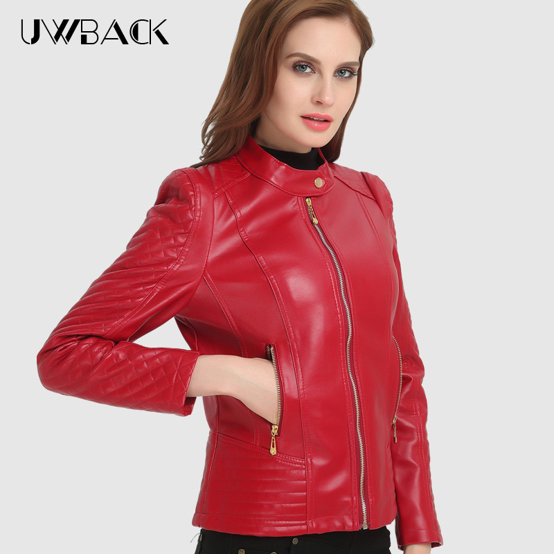 2018 New Autumn Leather Jacket Women Plus Size 4XL Long Sleeve Solid Leather Coat Red/Black PU Casual Motorcycle Jacket ,EB326