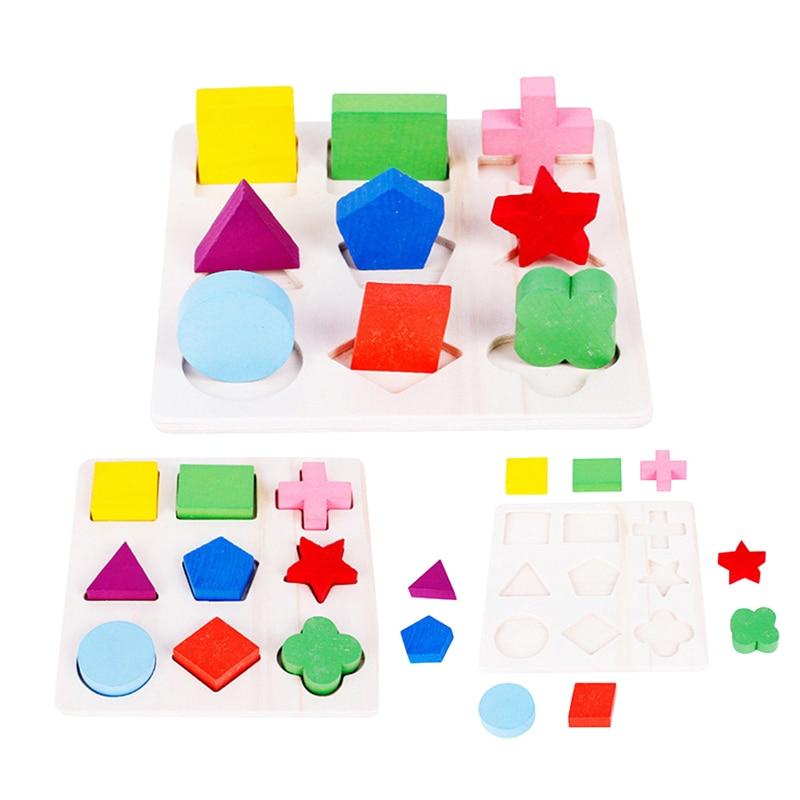 Новые 3 стилей/комплект деревянный геометрический головоломки доля Форма игрушка-головоломка для детей Монтессори раннего обучения