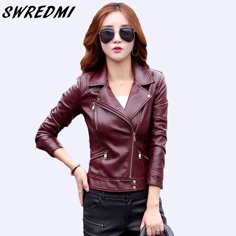 SWREDMI 2019 Hot Sale Motorcycle   Leather   Jacket Plus Size Women's Clothing XS-3XL Outerwear Casual Turn-down Collar Short   Suede