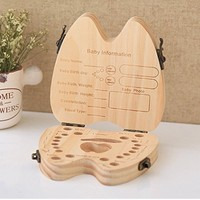 50pcs Baby Girl Boy Tooth Box Organizer for Baby Save Milk Teeth Wooden Tooth Shape Storage Box lin3879
