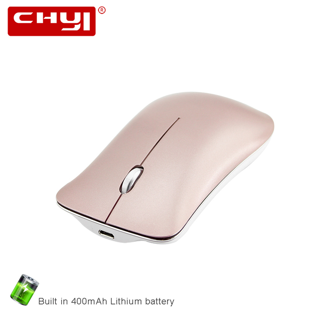 9e20696512c CHYI Rechargeable Wireless Mouse Slim Silent Alloy Rose Gold Mice 1600DPI  Optical Computer Mause For Microsoft