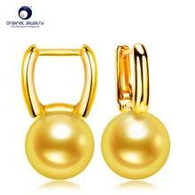 где купить [YS] Fine Jewelry 7.5-8mm AAA Quality Japanese Akoya Seawater Cultured Pearl 18k Gold Drop Earrings For Women Free Shipping по лучшей цене