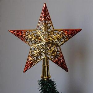 Image 4 - PF gwiazda na szczyt choinki bożonarodzeniowej gwiazda plastikowa gwiazda na choinkę Topper na boże narodzenie wystrój stołu kolorowe rękodzieło Xmas DIY akcesoria