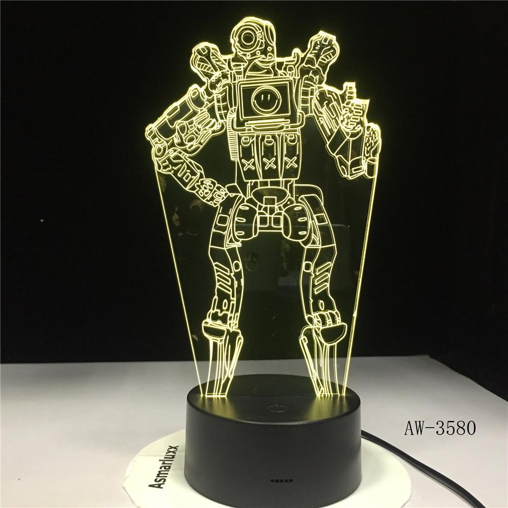 Apex Legends Wraith Figure 3D LED Night Light Battle Royale Bedroom Decor Light Kids Friend Birthday Gift Table Lamp AW-3580