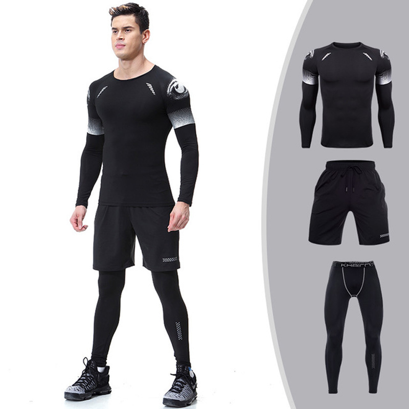 DLIXZI 3 Piece Rashguard MMA kit Long Sleeve Sweatshirt Pants Men Set Tracksuit Gyms Clothes Sweat Compression Suit Sportswear