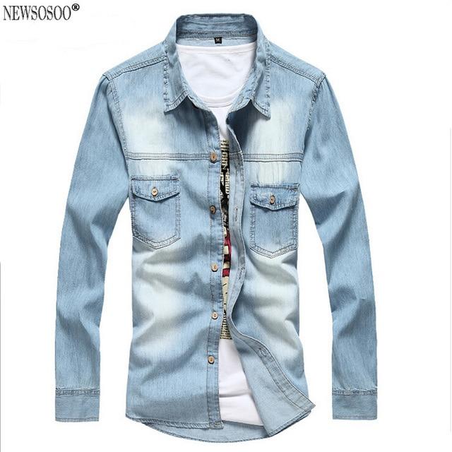 Newsosoo Camiseta Masculina 2XL Хлопок Slim Fit Бренд Джинсовой Рубашки мужчин 2016 Новый Длинным Рукавом Синий Сорочка Homme CY45
