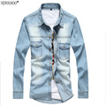 newsosoo Camiseta Masculina 2XL Cotton Slim Fit Brand Denim Shirts men 2016 New Long Sleeve Blue Chemise Homme CY45