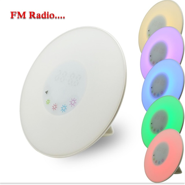 DC5V Digital Led Alarm Clock Radio FM RGB White Color Changing Touch Display Circular Modern Wake Up Table Lamp Novelty Light