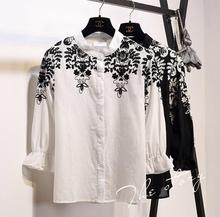 2016 new autumn flower embroidery cotton loose white shirt