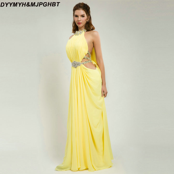 5da21068bf Sexy Yellow Prom Dresses Cut-out Waisst with Crystal Halter Floor Lentgh Front  Slit Prom Gowns