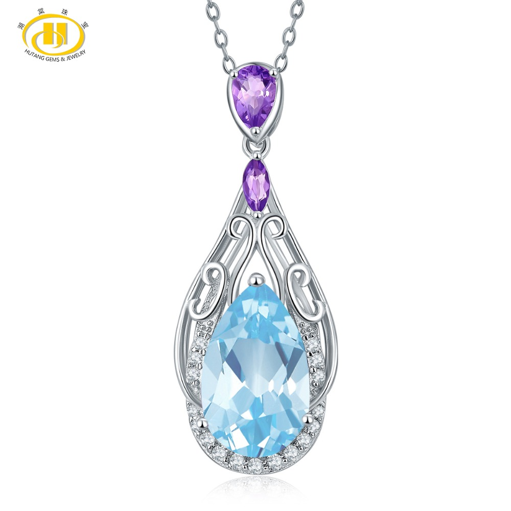 Hutang 8.01ct Natural Blue Topaz & Amethyst Solid 925 Sterling Silver Filigree Pendant Necklace Gemstone Fine Jewelry WomensHutang 8.01ct Natural Blue Topaz & Amethyst Solid 925 Sterling Silver Filigree Pendant Necklace Gemstone Fine Jewelry Womens