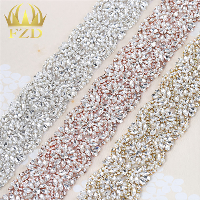 (1 yard) Beaded Hot Fixing Clear Bling Sew on Crystal Beaded Appliques  Handmade Trim for Dress Bridal Belt Headbands Garters 072279c4ea4c
