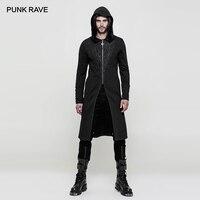 PUNK RAVE Men's Gothic Black Hooded Long Sweater Coat Steampunk Vintage 3D Jacquard Trench Party Club Men Jacket Long Coat Men