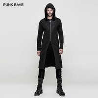 PUNK RAVE Men's Gothic Black Hooded Long Sweater Coat Steampunk Vintage 3D Jacquard Trench Party Club Men Jacket Long Coat Men