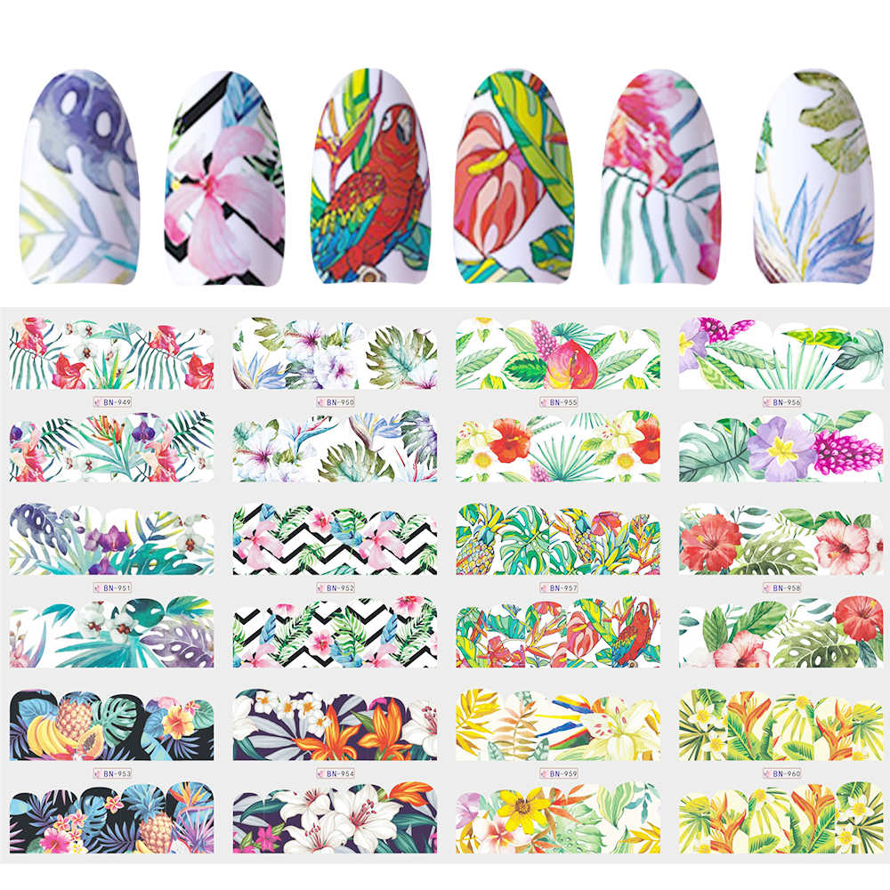 12 Ontwerpen Slider Nail Sticker Water Decal Transfer Tattoo Tropische Jungle Dier Bloem Lijm Manicure Decor Tip JIBN949-960