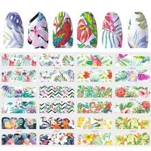 12 Designs Slider Nail Sticker Water Decal Transfer Tattoo Tropical Jungle Animal Flower Adhesive Manicure Decor Tip JIBN949 960