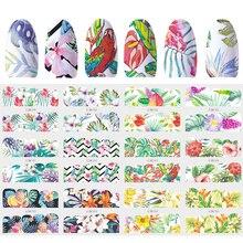 12 wzorów suwak naklejka do paznokci woda naklejka Transfer tatuaż tropikalne zwierzę z dżungli kwiat klej Manicure Decor wskazówka JIBN949 960
